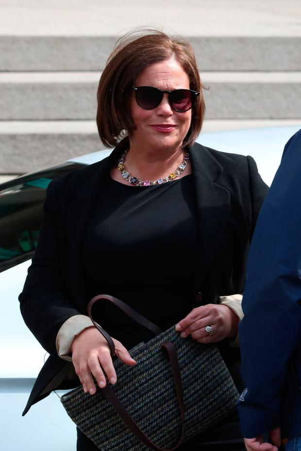 Sinn Fein leader Mary Lou McDonald arrives for the funeral service of murdered journalist Lyra McKee at St Anne's Cathedral in Belfast. Liam McBurney/PA Wire