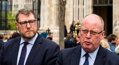 Chief Constable George Hamilton (right) with Temporary Deputy Chief Constable Stephen Martin speaking to media after the funeral of murdered journalist Lyra McKee Photo credit: Liam McBurney/PA Wire