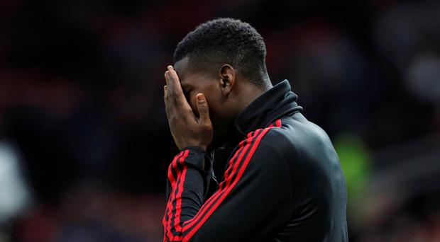 Soccer Football - Premier League - Manchester United v Manchester City - Old Trafford, Manchester, Britain - April 24, 2019 Manchester United's Paul Pogba during the warm up before the match REUTERS/Phil Noble