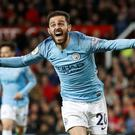 Soccer Football - Premier League - Manchester United v Manchester City - Old Trafford, Manchester, Britain - April 24, 2019 Manchester City's Bernardo Silva celebrates scoring their first goal. Action Images via Reuters/Carl Recine