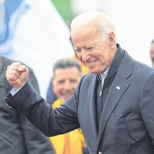 Contender: Former US vice president Joe Biden at a rally in Dorchester, Massachusetts, last week. The 76-year-old is expected to throw his hat in the ring for the 2020 election. Photo: Getty Images