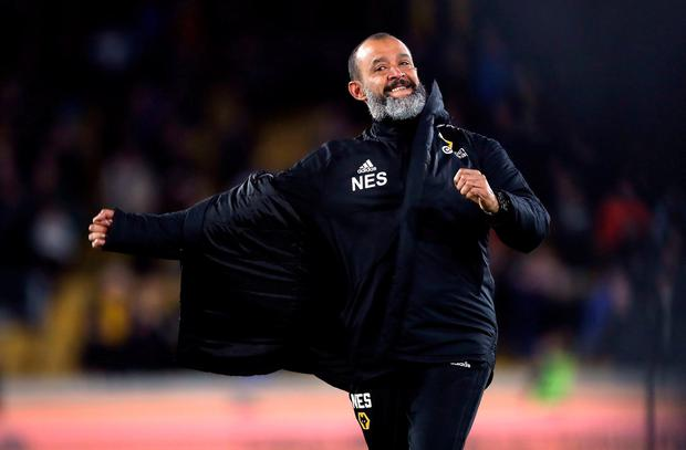 Wolverhampton Wanderers manager Nuno Espirito Santo celebrates after the match. Photo: Nick Potts/PA Wire