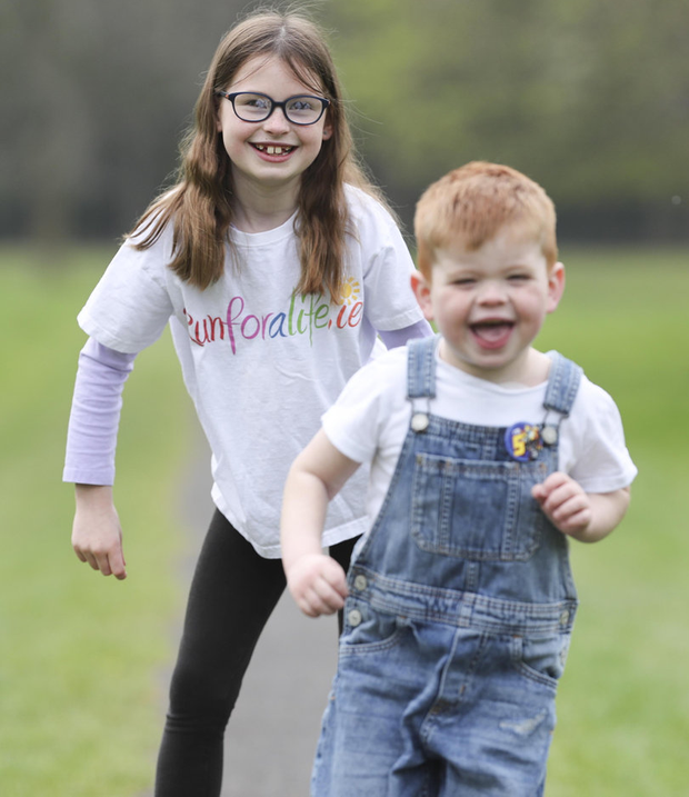 Fun: Dialysis patient Sam Kinahan (4), from Baldoyle, Dublin, with sister Ali (8) at the launch of the Irish Kidney Association's Run for a Life family fun run in Clondalkin on May 25. Photo: Conor McCabe