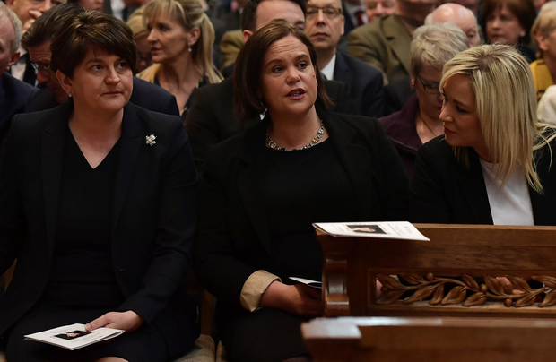 The DUP's Arlene Foster (left) with Sinn Fein's Mary Lou McDonald and Michelle O'Neill. Photo: Charles McQuillan/Pool via REUTERS