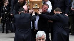 Pallbearers carry the coffin of Lyra McKee at her funeral at St. Anne's Cathedral in Belfast. Photo: REUTERS/Clodagh Kilcoyne