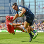 James Lowe of Leinster is tackled by Cheslin Kolbe of Toulouse during the Heineken Champions Cup Semi-Final match between Leinster and Toulouse at the Aviva Stadium in Dublin. Photo by Ramsey Cardy/Sportsfile
