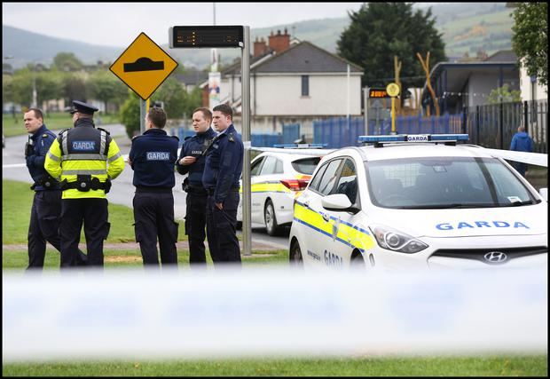 Gardai at the scene of the shooting