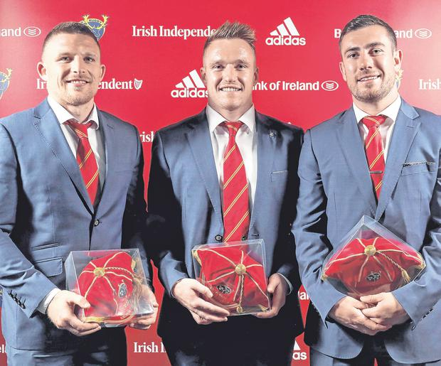Andrew Conway, Rory Scannell and JJ Hanrahan also received also their 100th caps at the ceremony