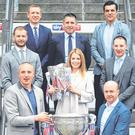 Kieran Donaghy (bottom left) at the launch of the Sky Sports GAA coverage with JJ Delaney, Ollie Canning, Senan Connell, Brian Carney, Jamesie O'Connor, Peter Canavan and Rachel Wyse with the Sam Maguire and Liam MacCarthy Cups