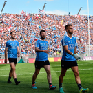 Dubs on the march: Jonny Cooper leads the Dubs in the parade on All-Ireland final day last year – the Hill 16 faithful will expect more of the same this year. Photo: Sportsfile
