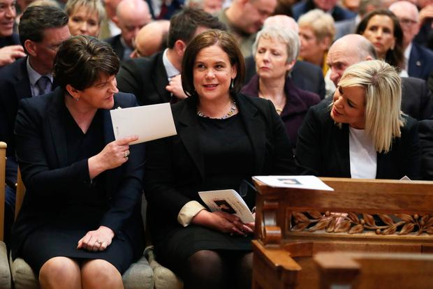 DUP leader Arlene Foster with Sinn Fein's Mary Lou McDonald and Michelle O'Neill in St Anne's Cathedral, Belfast, before the funeral of Lyra McKee. Photo: Brian Lawless/PA Wire