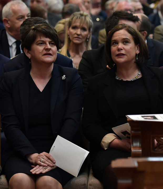 Leaders: Arlene Foster and Mary Lou McDonald. Picture: Charles McQuillan/Pool via REUTERS