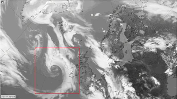 Blustery: A satellite view of Storm Hannah. Photo: Met éireann