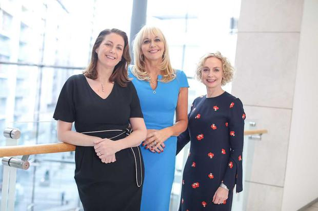 RTE Prime Time Political Correspondent Katie Hannon, Vodafone CEO Anne O'Leary and RTE broadcaster and journalist Miriam O'Callaghan at the launch of the Women in Media conference that will be held in Ballybunion, County Kerry from April 26th to 28th