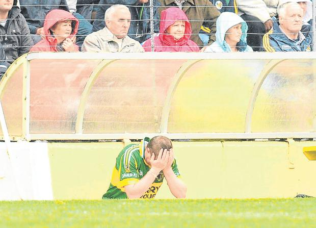 Regrets, I've had a few: All alone with my thoughts in the dugout after being sent off during Kerry's Munster SFC clash against Tipperary in 2011 –the culture of appealing every decision in the GAA has to change at club and county level. Photo: Diarmuid Greene/Sportsfile