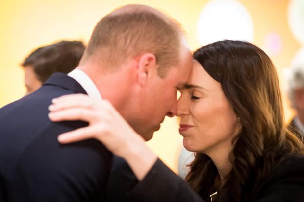 Britain's Prince William greets New Zealand Prime Minister Jacinda Ardern Mark Tantrum/The New Zealand Government/Handout via REUTERS
