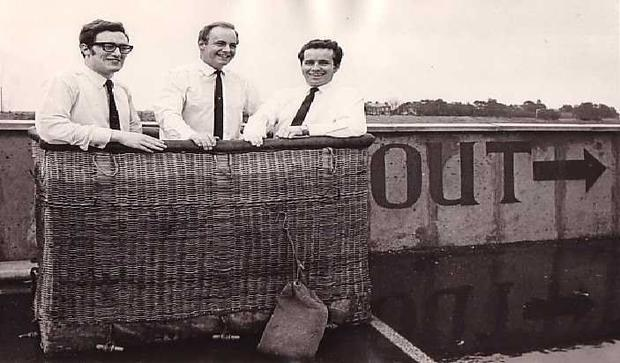 Adventurer: Feargal Quinn in his balloon with Malcolm Brighton and Paul Ennis, but the bad weather put pay to their attempt