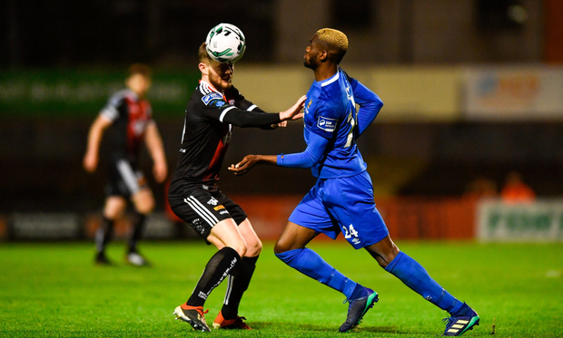 Waterford's Ismahil Akinade in action against Conor Levingston of Bohemians. Photo: Sam Barnes/Sportsfile
