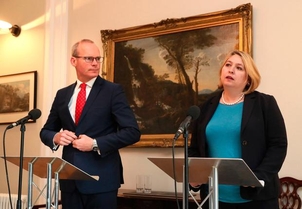 Hopeful: Foreign Affairs Minister Simon Coveney and Northern Ireland Secretary Karen Bradley. Photo: Brian Lawless/PA Wire