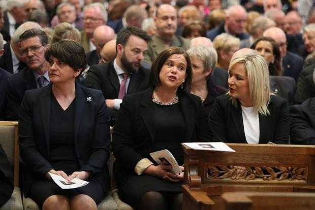 United but divided: DUP leader Arlene Foster and Sinn Féin's Mary Lou McDonald and Michelle O'Neill at the funeral service for murdered journalist Lyra McKee. Photo: Reuters