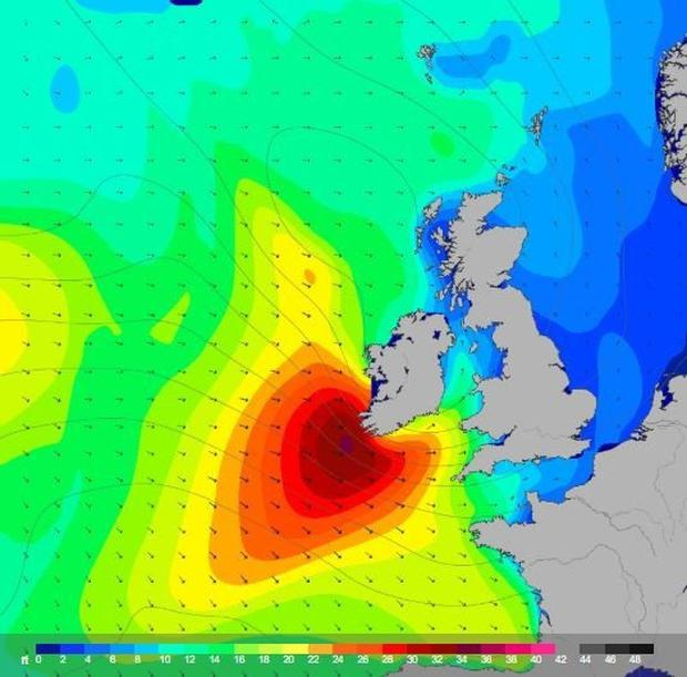 Arrival: The 650km-wide Storm Hannah approaches Ireland. Photo: Alistair Grant Freelance