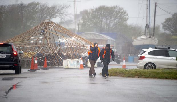 A big tent erected for the WindMind event in Fenit was blown as storm Hannah arrived over Kerry. Photo: Domnick Walsh
