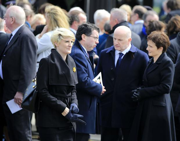 Averil Power, Sean and Trish Gallagher at Feargal Quinn's funeral. Picture; Gerry Mooney