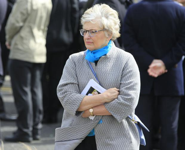 Katherine Zappone at Feargal Quinn's funeral. Picture; Gerry Mooney