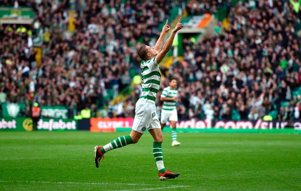 Celtic's Jozo Simunovic celebrates scoring his side's winning goal. Photo credit: Ian Rutherford/PA Wire. EDITORIAL USE ONLY