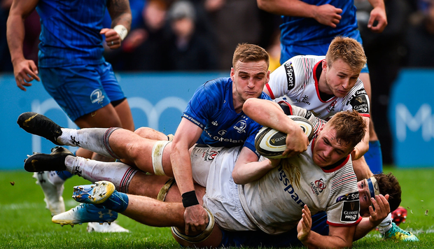 Marcus Rea of Ulster goes over for his side's second try