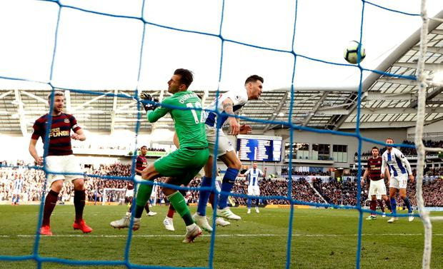 Brighton's Pascal Gross scores their goal. Photo: John Sibley/Action Images via Reuters