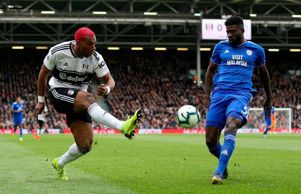 Fulham's Ryan Babel (left) in action with Cardiff City's Bruno Ecuele Manga. Photo: Steven Paston/PA Wire