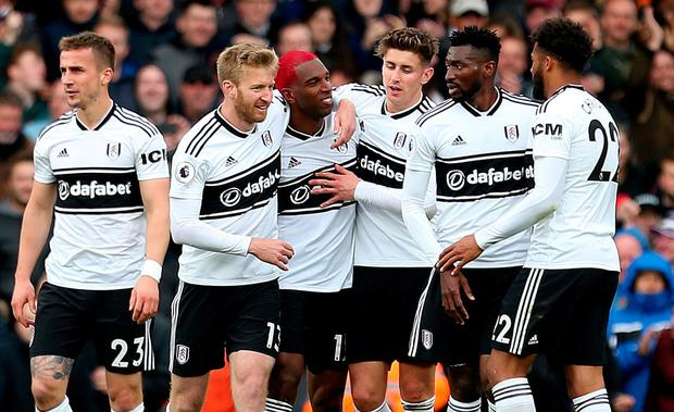 Fulham's Ryan Babel (centre left) celebrates scoring his side's goal. Photo: Steven Paston/PA Wire
