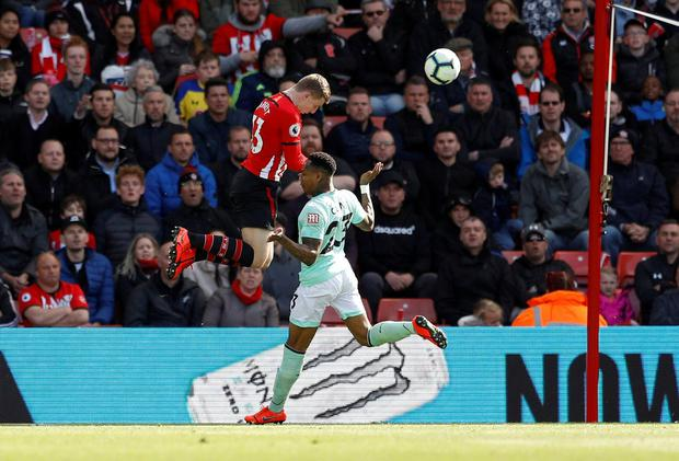 Southampton's Matt Targett scores their third goal. Photo: Peter Nicholls/Reuters