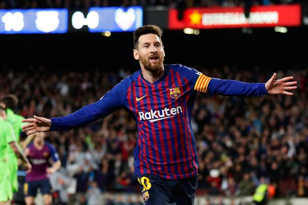 Lionel Messi celebrates after scoring his side's opening goal