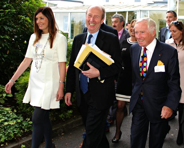 MUCH LOVED: Feargal Quinn, right, with Shane Ross in 2015 at a meeting of the Independent Alliance of TDs and Senators. Mr Quinn served as an Independent Senator from 1993 to 2016, and was recognised as a strong voice for the business community. Picture: Geraldine Woods