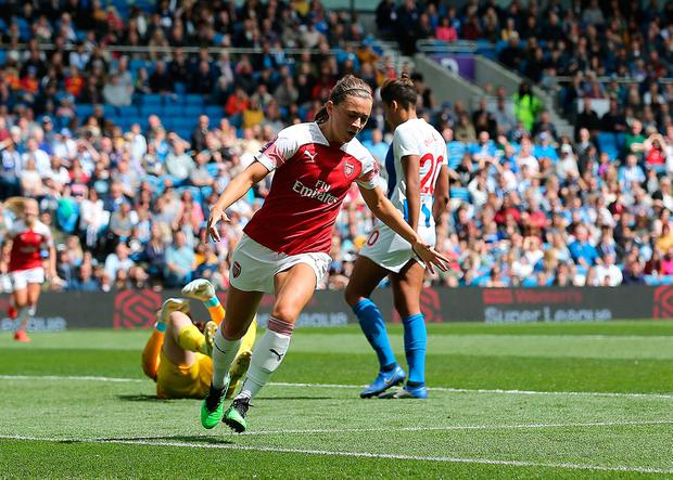 Arsenal's Katie McCabe celebrates scoring her side's second goal