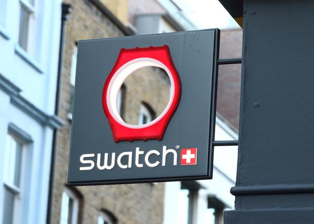 The Swatch brand logo is seen on Carnaby Street in London, UK. Photo: Keith Mayhew/SOPA Images/LightRocket via Getty Images