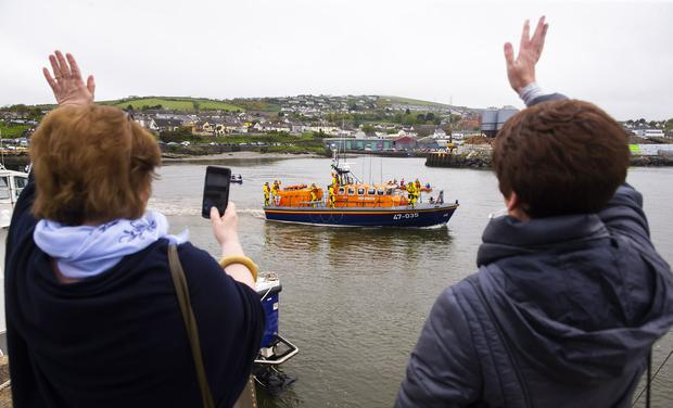 End of an era: Wicklow RNLI bids farewell to the Tyne class lifeboat that rescued 408 people. Photo: Patrick Browne