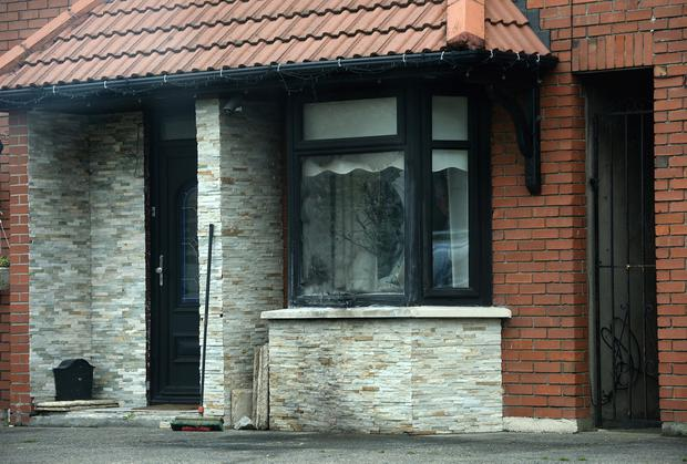 Targeted: Scorch marks and a broken window could be seen at a house in Scarlett Crescent, Drogheda. Photo: Caroline Quinn