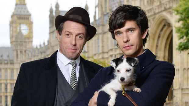 Hugh Grant playing Jeremy Thorpe and Ben Whishaw playing Norman Scott on set for BBC One's A Very English Scandal (Kieron McCarron/BBC)