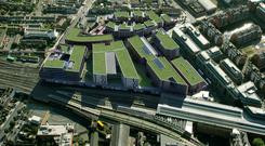 Artist's impression of the proposed redevelopment at Connolly Station, Dublin.