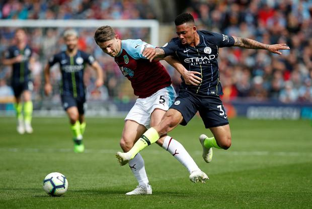 Manchester City's Gabriel Jesus in action with Burnley's James Tarkowski. Photo: Andrew Yates/Reuters