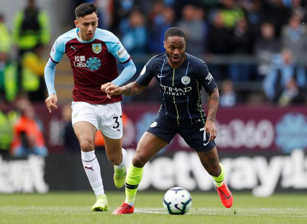 Manchester City's Raheem Sterling in action with Burnley's Dwight McNeil. Photo: Lee Smith/Action Images via Reuters