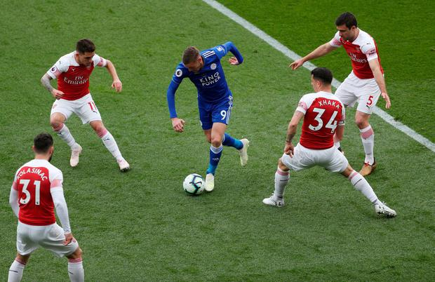 Leicester City's Jamie Vardy takes on the Arsenal defence. Photo: David Davies/PA Wire