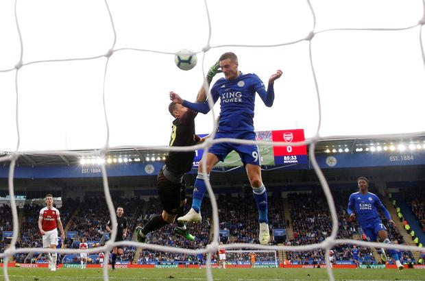 Jamie Vardy scores Leicester's second goal. Photo: Carl Recine/Action Images via Reuters