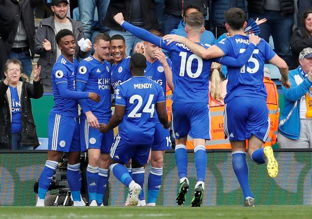 Leicester City players celebrate. Photo: David Klein/Reuters
