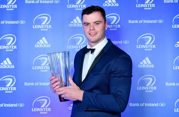 James Ryan with the Bank of Ireland Player's Player of the Year award. Photo: Brendan Moran/Sportsfile