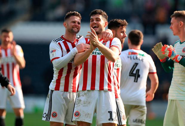 Sheffield United's John Egan reacts after beating Ipswich on Saturday