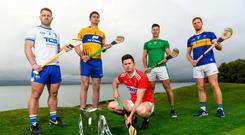 At yesterday's launch were, from left, Waterford's Noel Connors, Clare's Conor Cleary, Cork's Séamus Harnedy, Limerick's Dan Morrissey and Tipperary's Jason Forde at the Gold Coast Resort Hotel in Dungarvan. Photo: Harry Murphy/Sportsfile